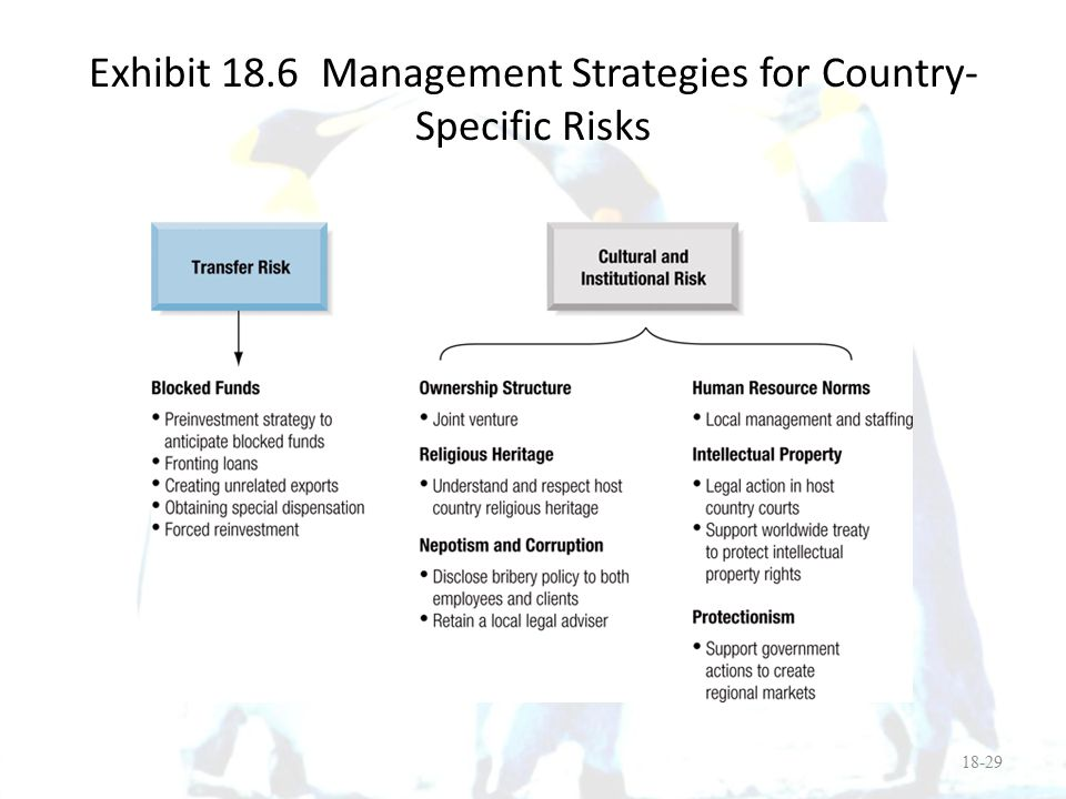 Exhibit 18.6 Management Strategies for Country-Specific Risks