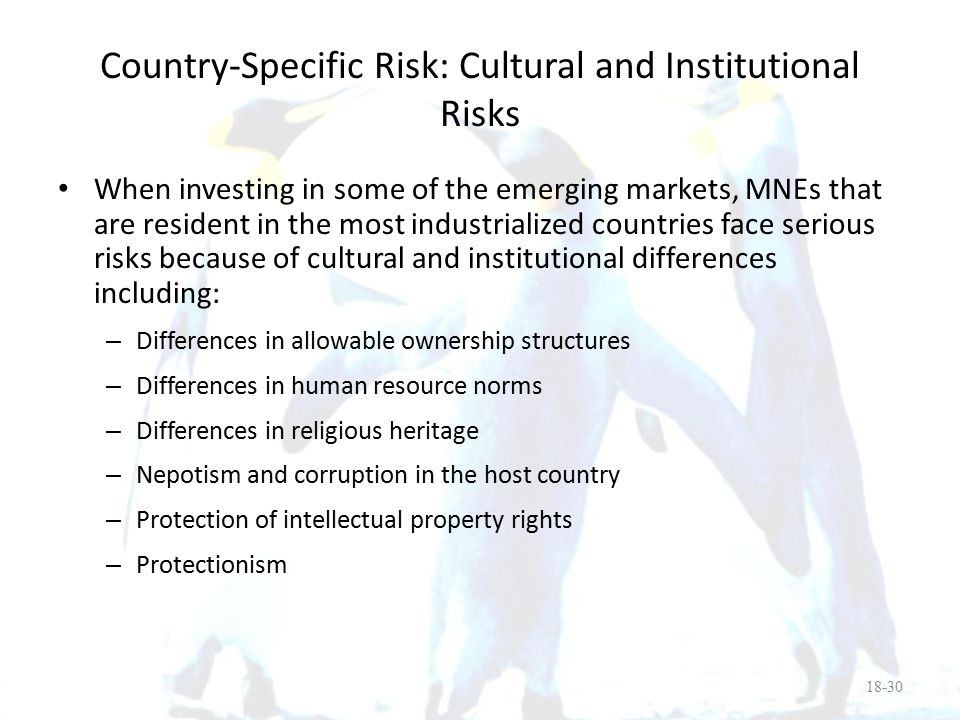 Country-Specific Risk: Cultural and Institutional Risks