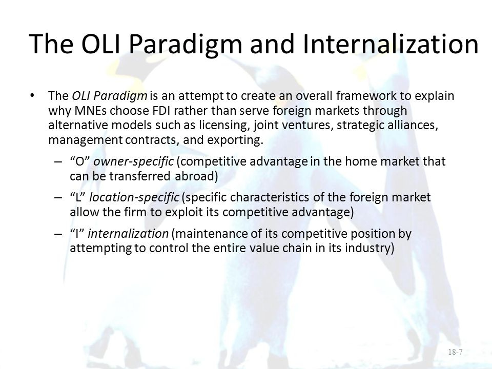 The OLI Paradigm and Internalization