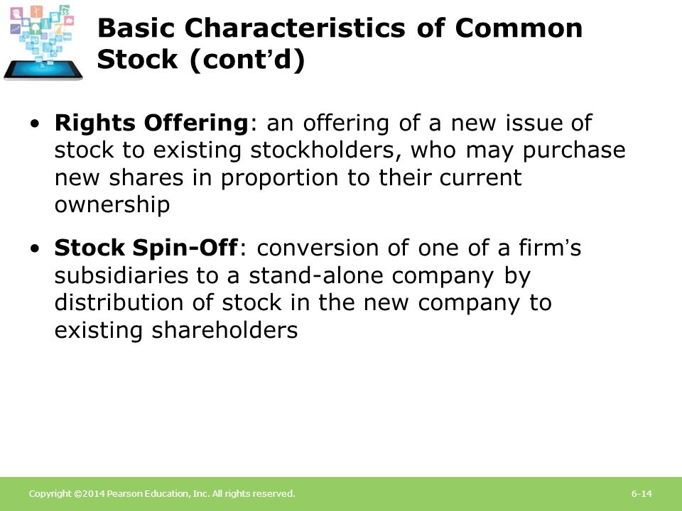 Basic Characteristics of Common Stock (cont'd)