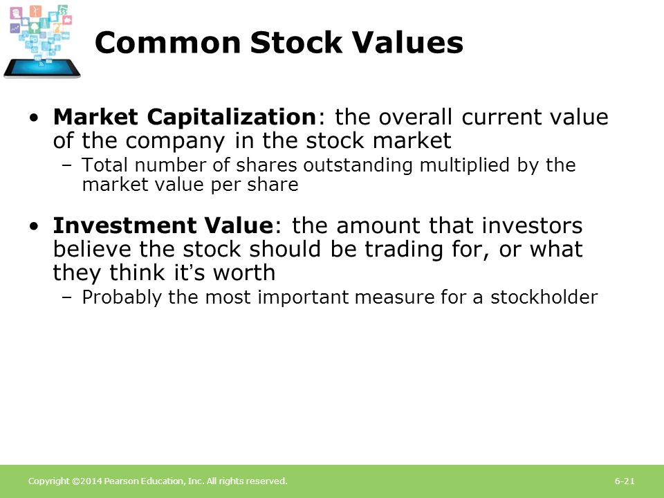 Common Stock Values Market Capitalization: the overall current value of the company in the stock market.