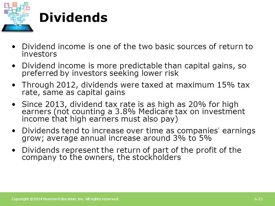 Dividends Dividend income is one of the two basic sources of return to investors.