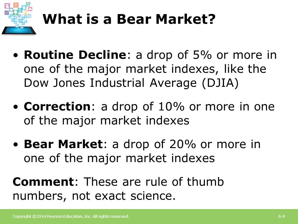 What is a Bear Market Routine Decline: a drop of 5% or more in one of the major market indexes, like the Dow Jones Industrial Average (DJIA)