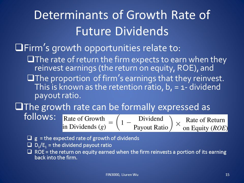 Determinants of Growth Rate of Future Dividends