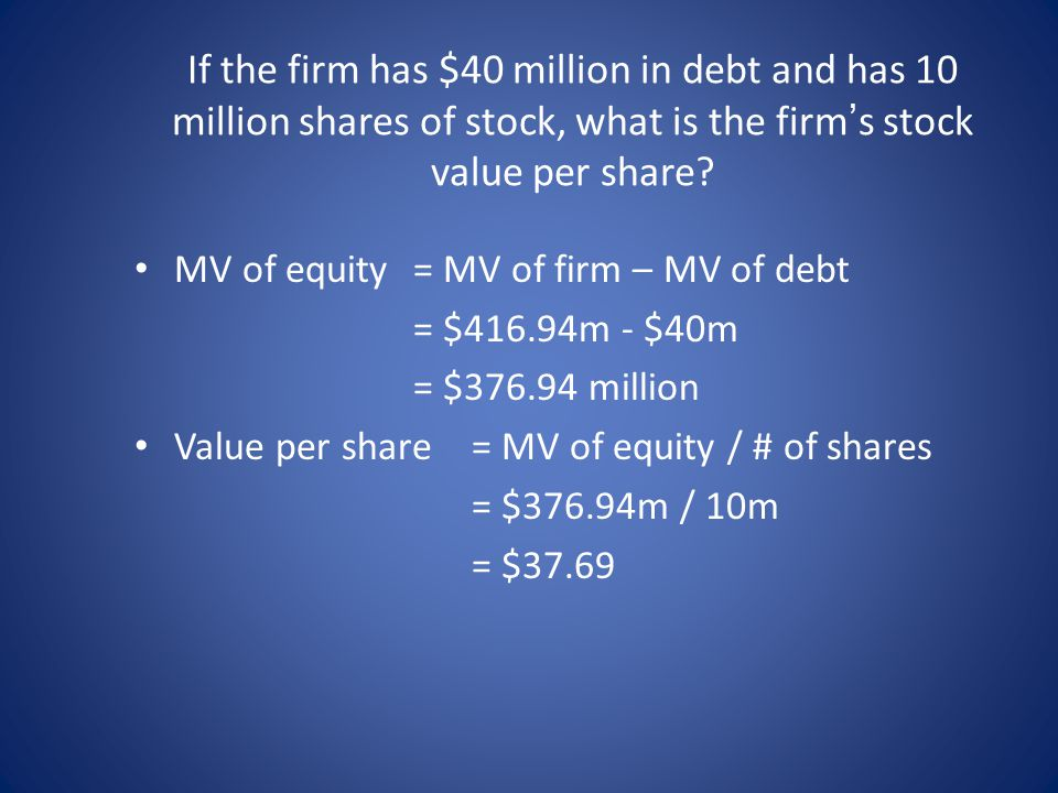 If the firm has $40 million in debt and has 10 million shares of stock, what is the firm's stock value per share