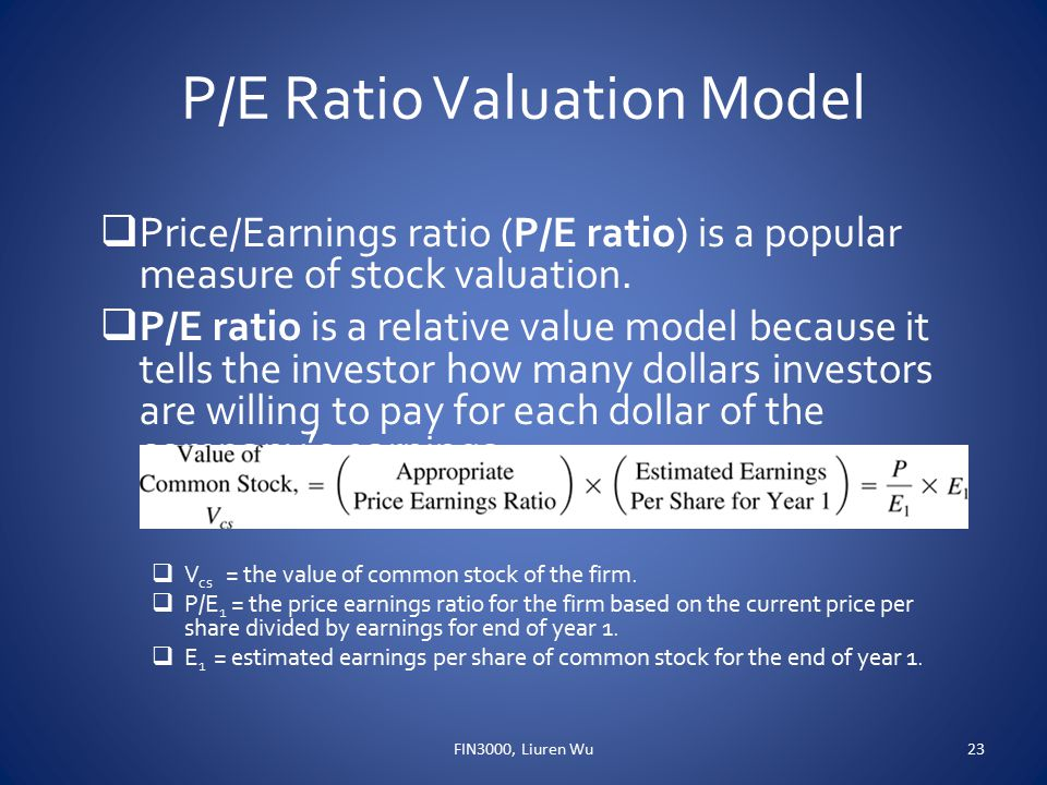 P/E Ratio Valuation Model