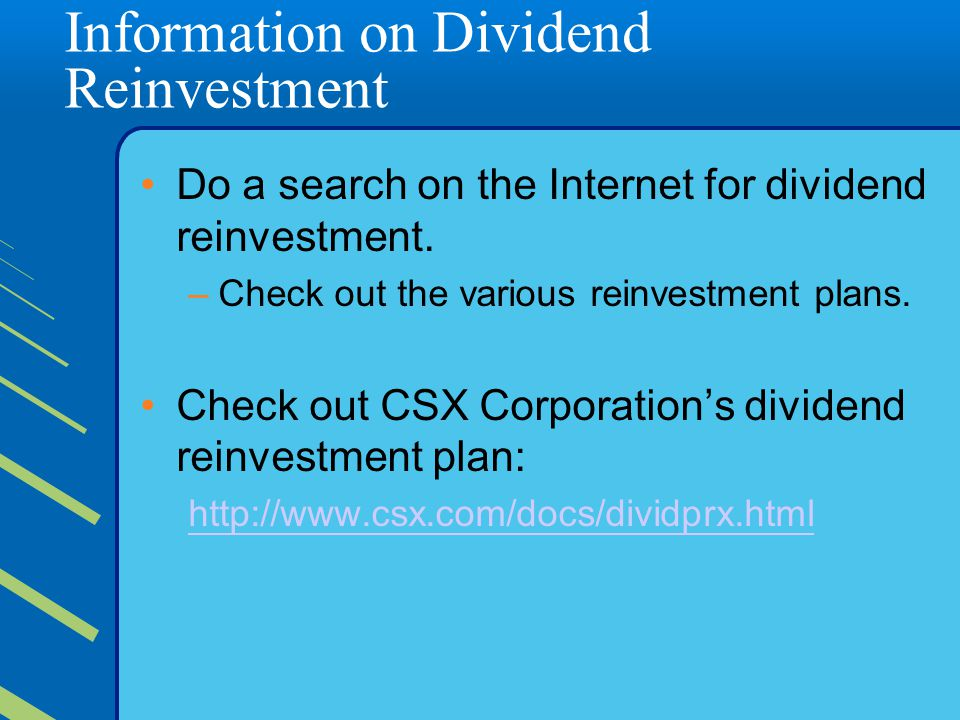 Information on Dividend Reinvestment