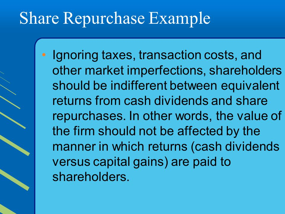 Share Repurchase Example