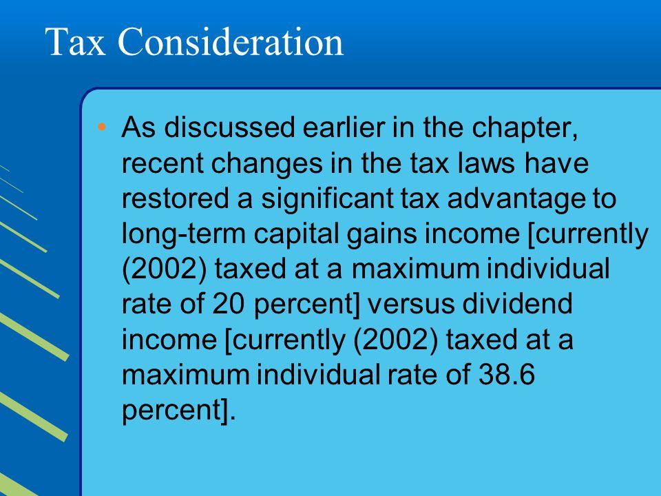 Tax Consideration