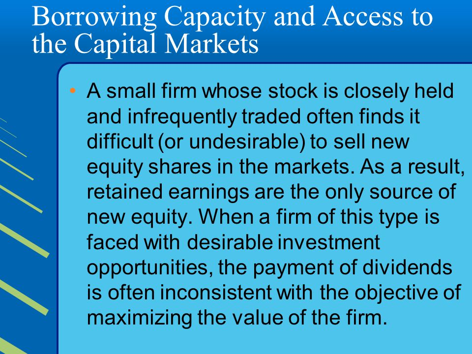 Borrowing Capacity and Access to the Capital Markets