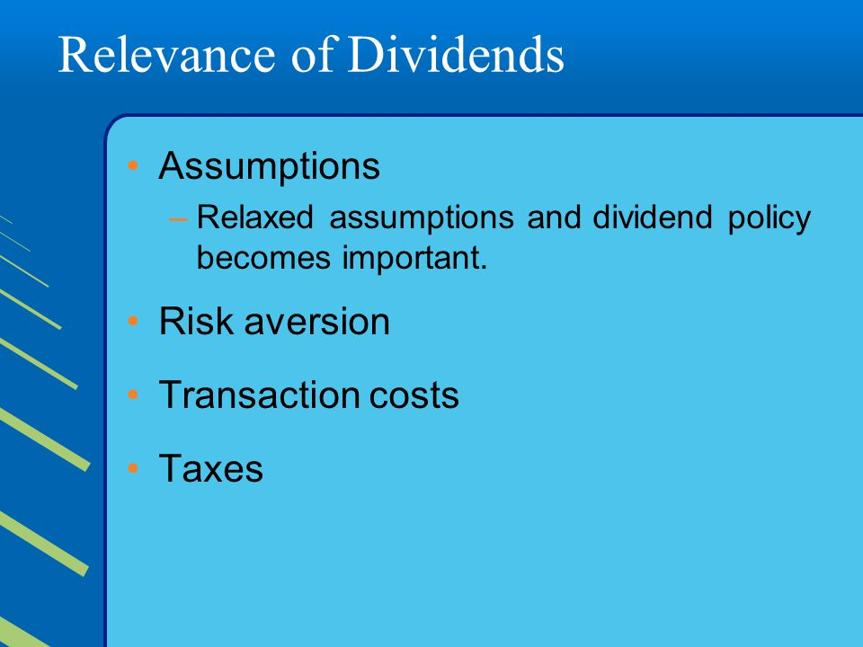 Relevance of Dividends