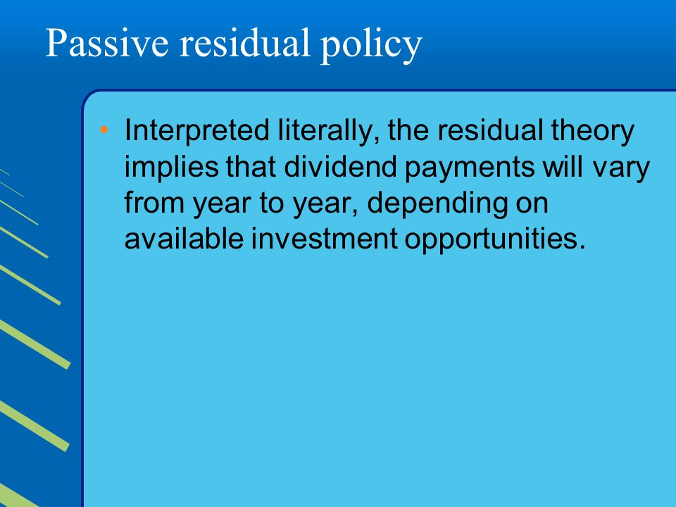 Passive residual policy