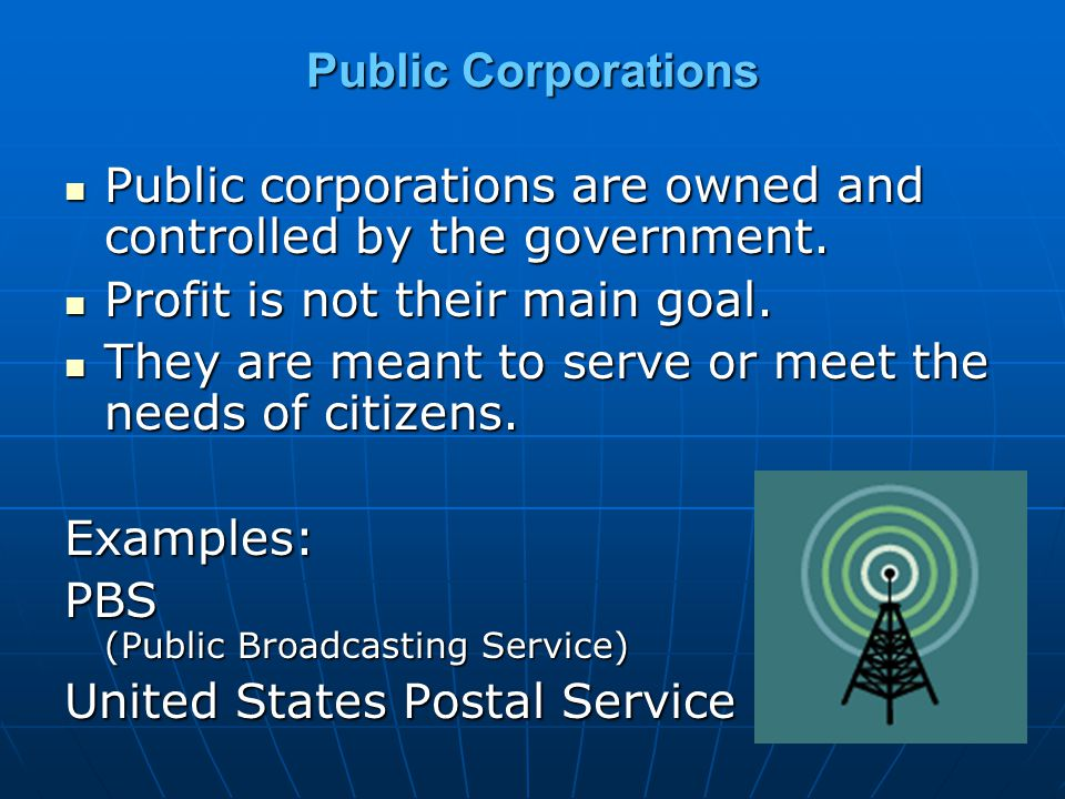 Public Corporations Public corporations are owned and controlled by the government. Profit is not their main goal.
