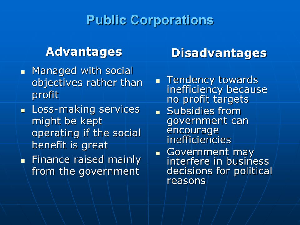 Public Corporations Advantages Disadvantages