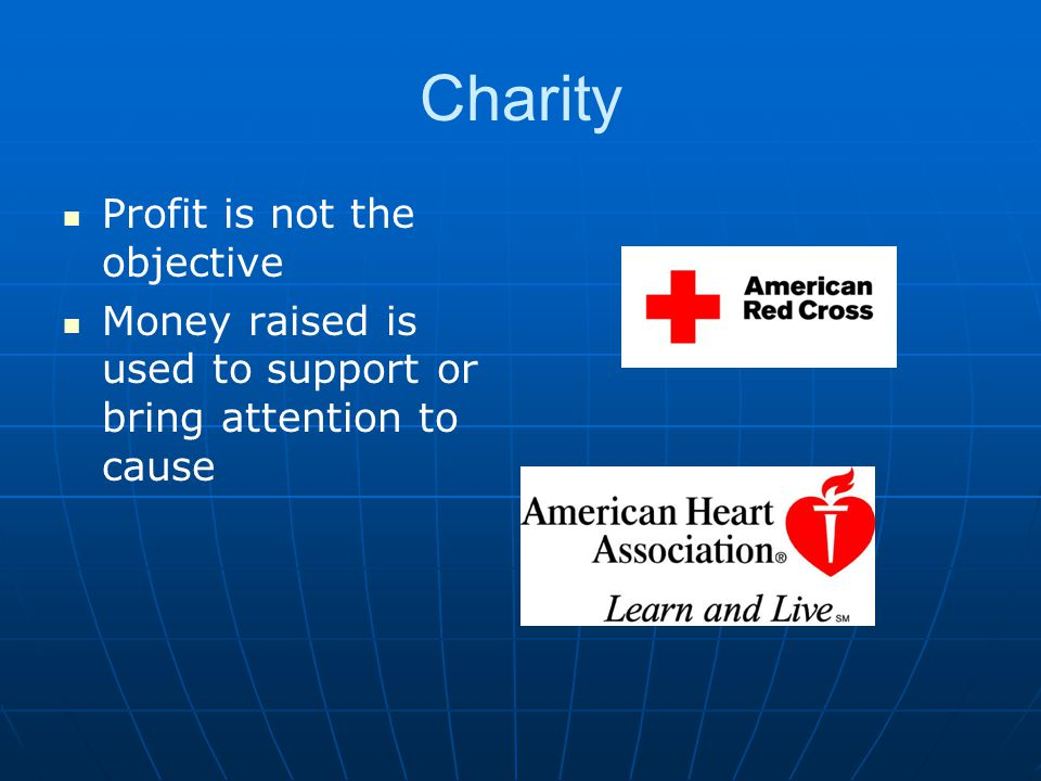 Charity Profit is not the objective