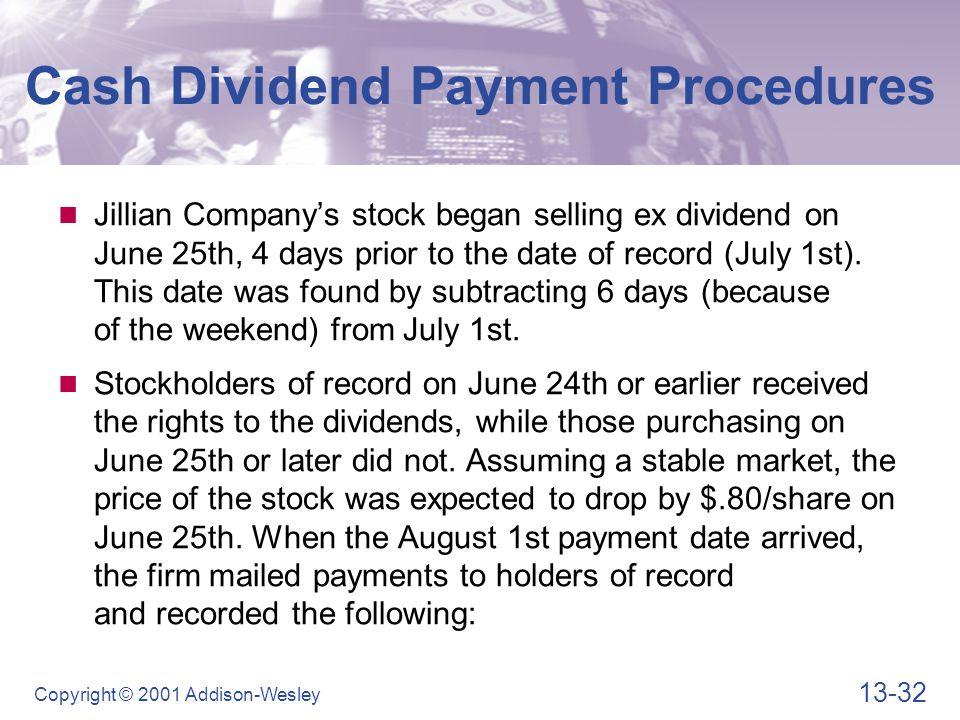 Cash Dividend Payment Procedures