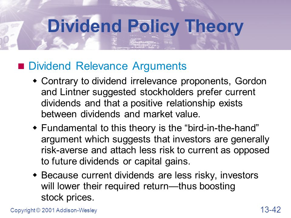 """the impact a dividend policy has on a firm Extent, if any, does dividend policy impact on firm""""s value lease et al (2000) posits that there are two distinct  to analyse the effect of dividend policies on."""