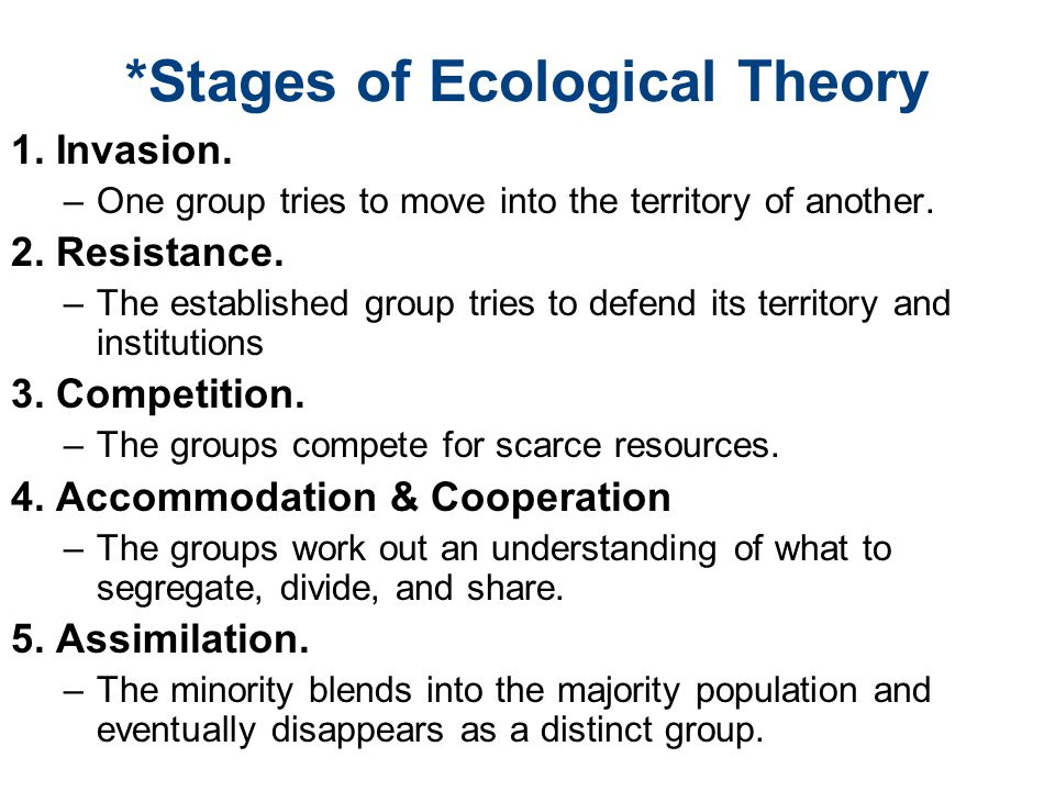 *Stages of Ecological Theory