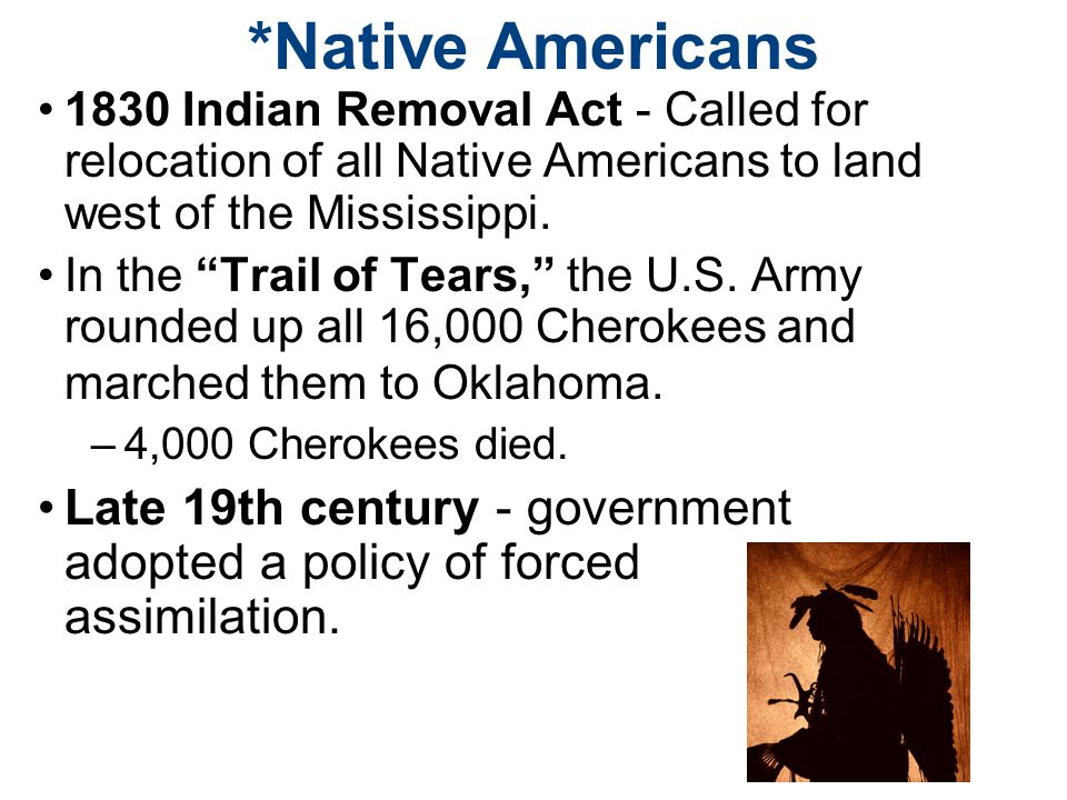 *Native Americans 1830 Indian Removal Act - Called for relocation of all Native Americans to land west of the Mississippi.