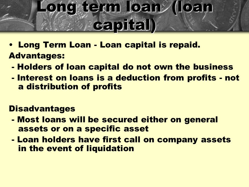 Long term loan (loan capital)