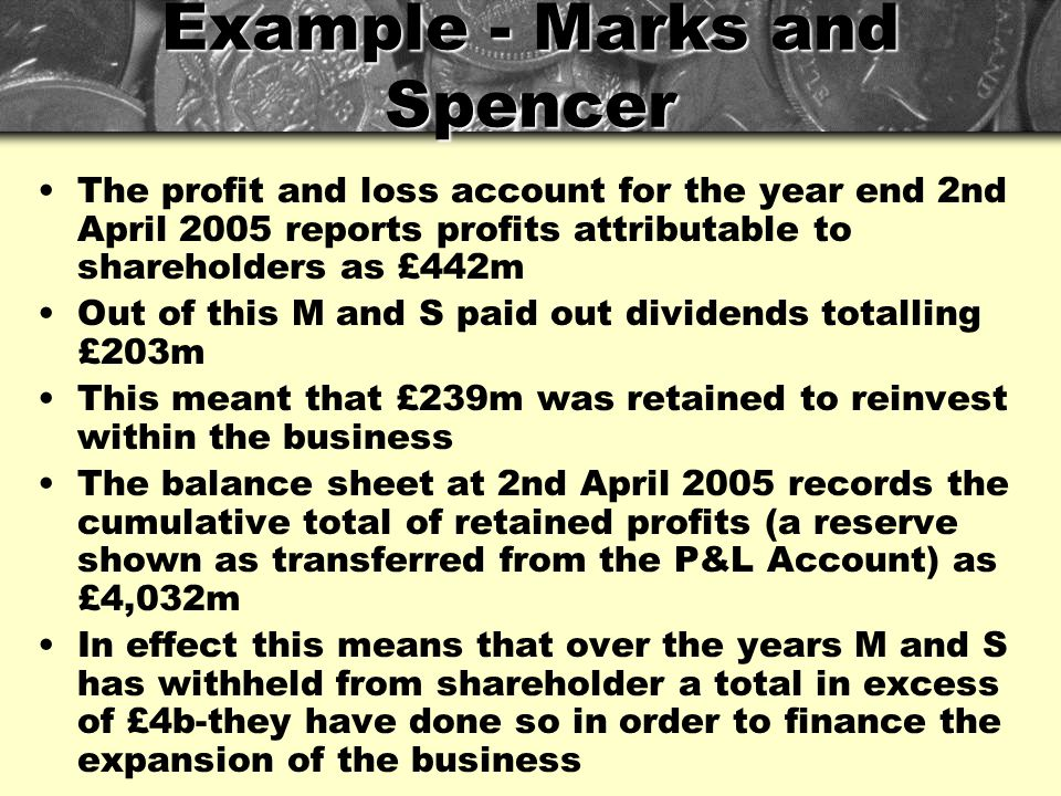 Example - Marks and Spencer