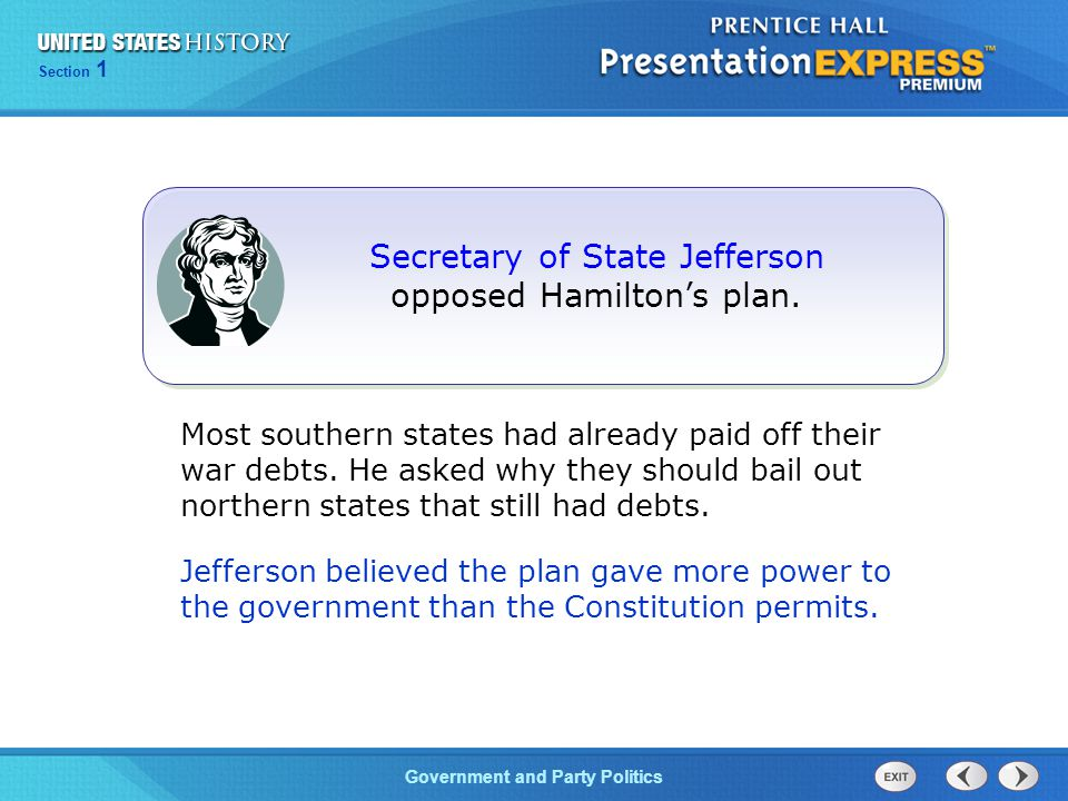 Secretary of State Jefferson opposed Hamilton's plan.