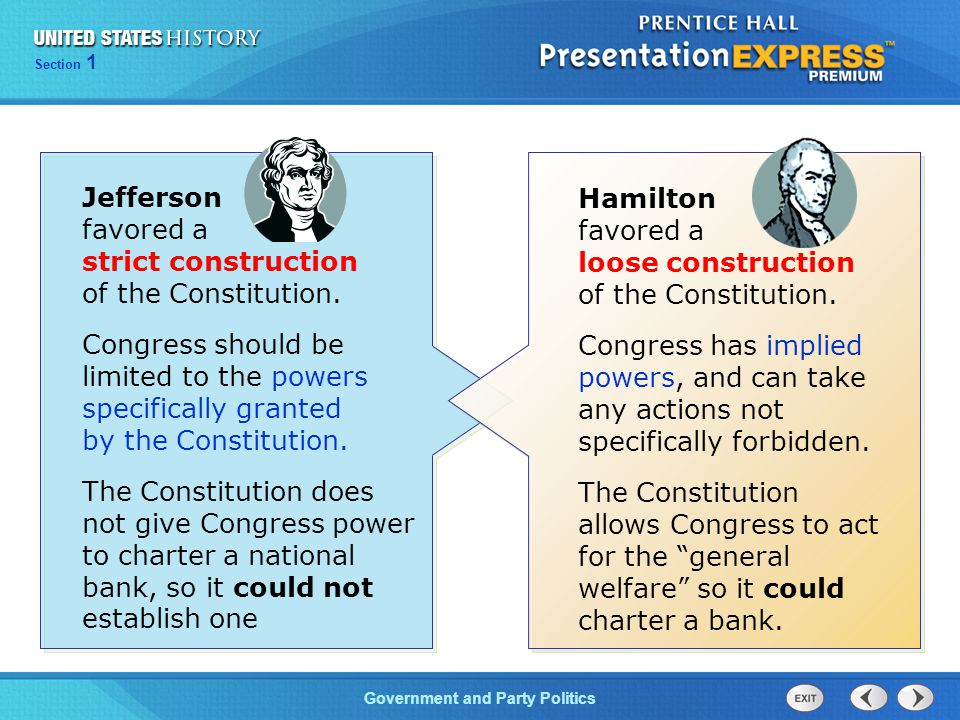 Jefferson favored a strict construction of the Constitution.