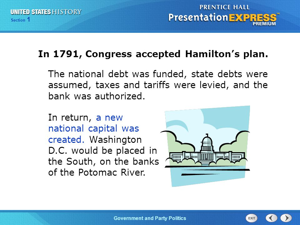 In 1791, Congress accepted Hamilton's plan.