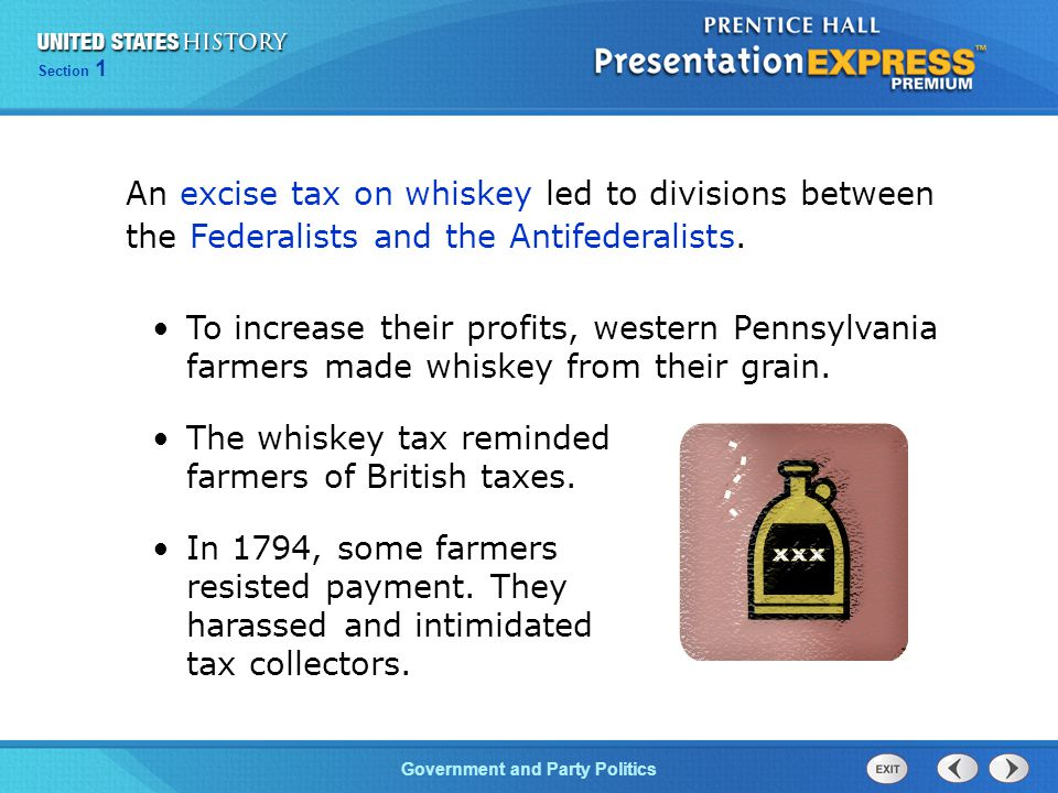 An excise tax on whiskey led to divisions between the Federalists and the Antifederalists.