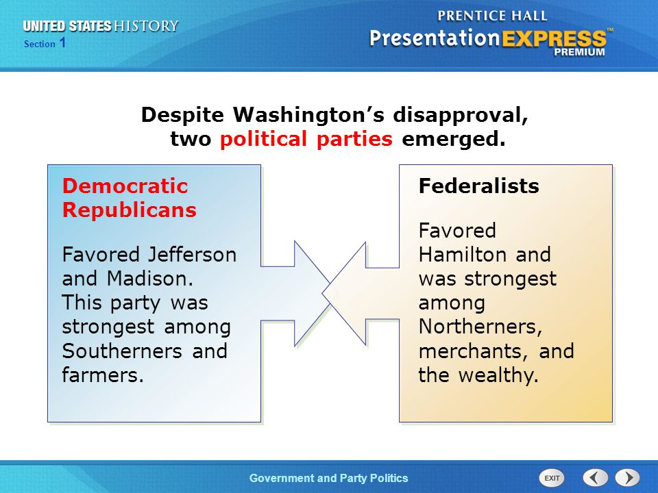 Despite Washington's disapproval, two political parties emerged.