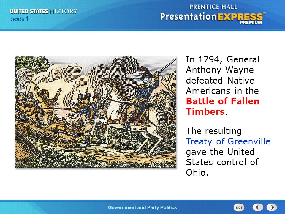 In 1794, General Anthony Wayne defeated Native Americans in the Battle of Fallen Timbers.