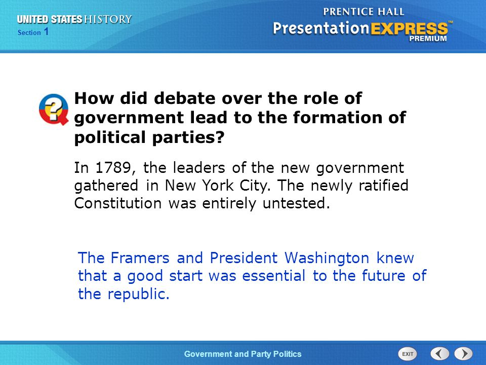 How did debate over the role of government lead to the formation of political parties