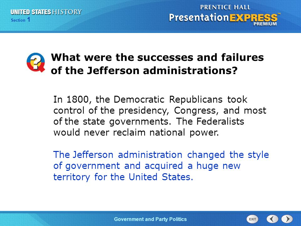 What were the successes and failures of the Jefferson administrations