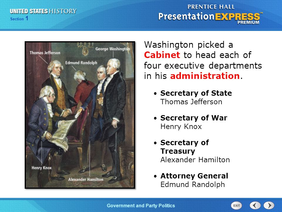 Washington picked a Cabinet to head each of four executive departments in his administration.