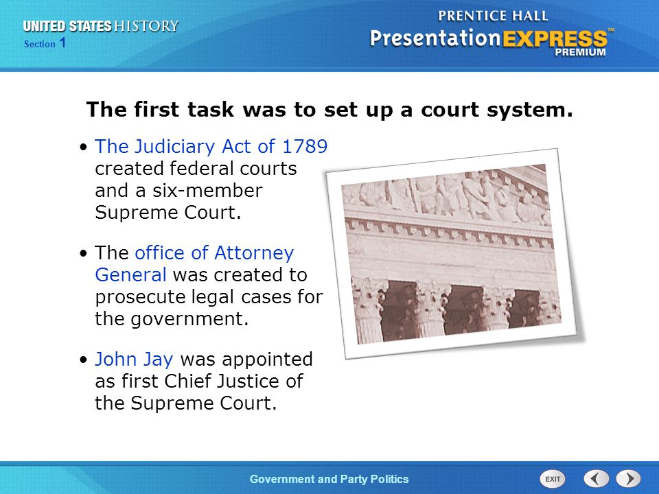 The first task was to set up a court system.