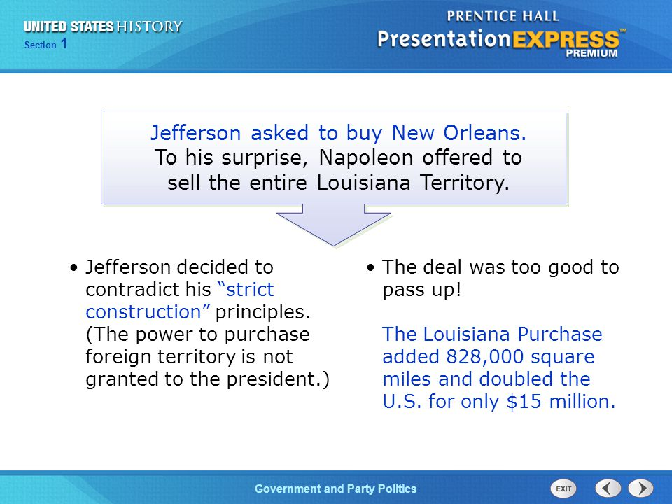 Jefferson asked to buy New Orleans