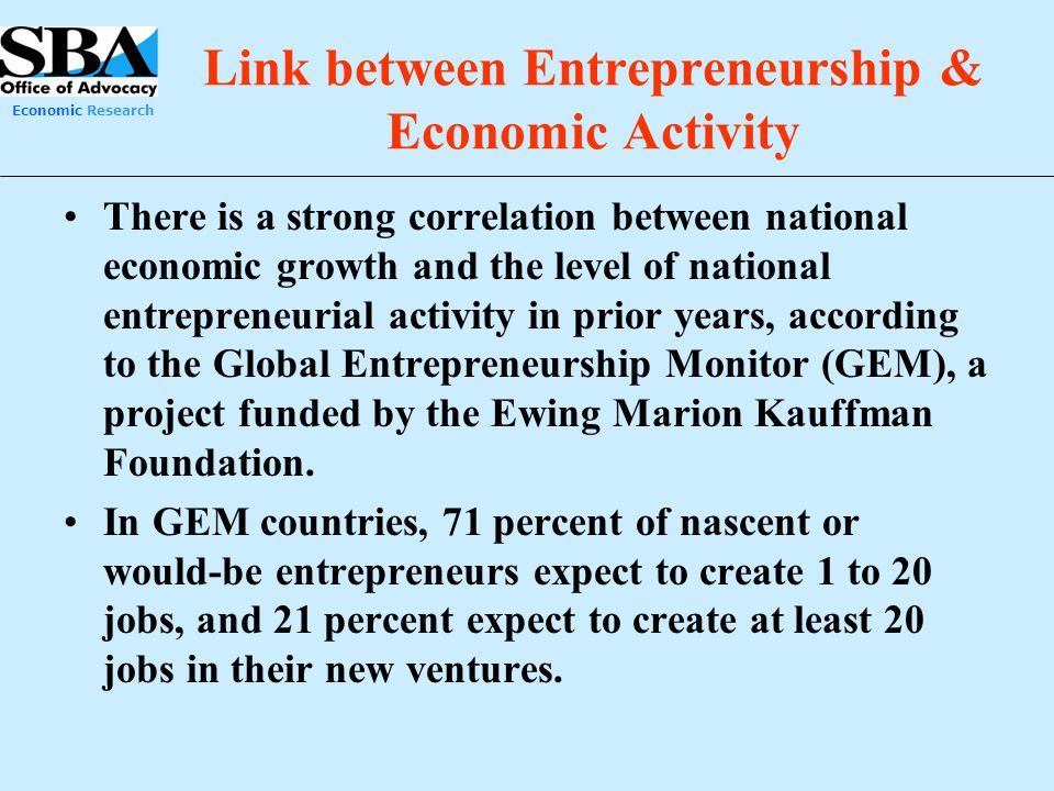 Link between Entrepreneurship & Economic Activity