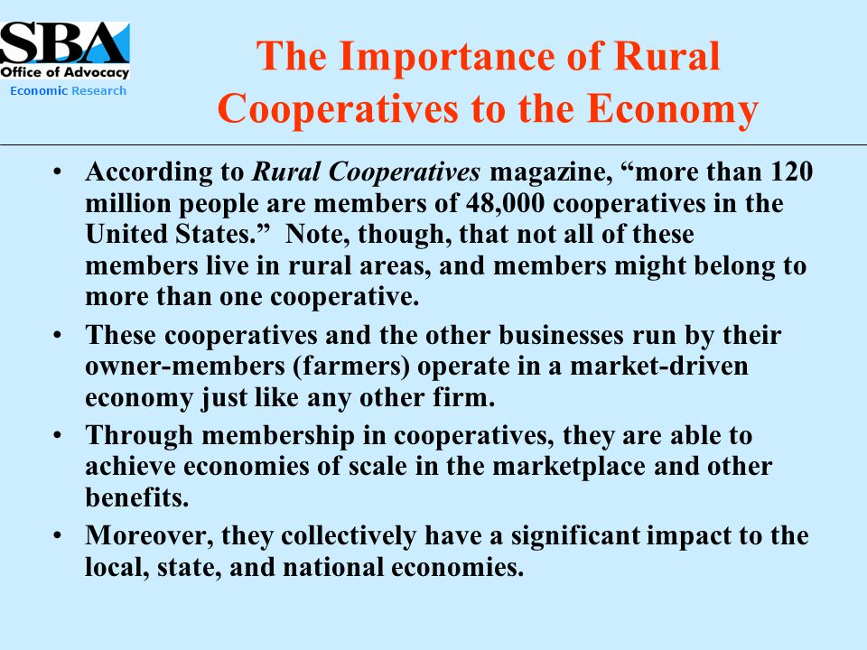 The Importance of Rural Cooperatives to the Economy