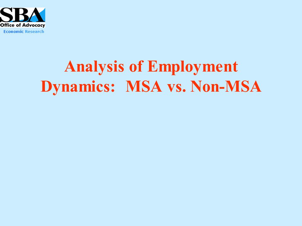 Analysis of Employment Dynamics: MSA vs. Non-MSA