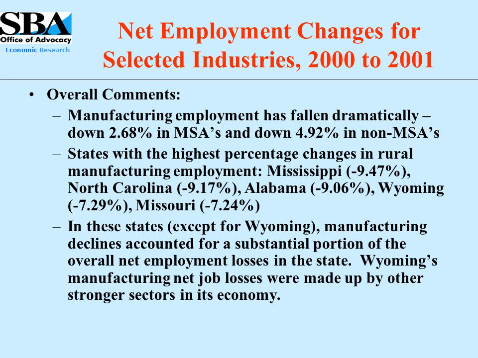 Net Employment Changes for Selected Industries, 2000 to 2001
