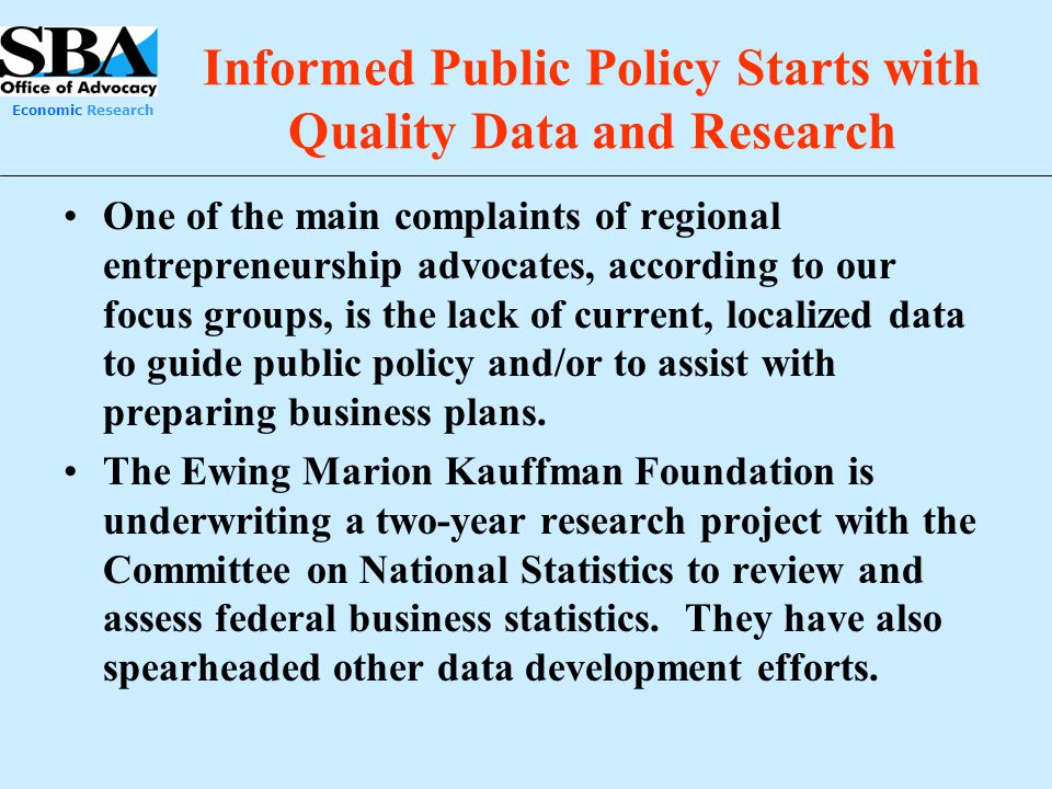 Informed Public Policy Starts with Quality Data and Research