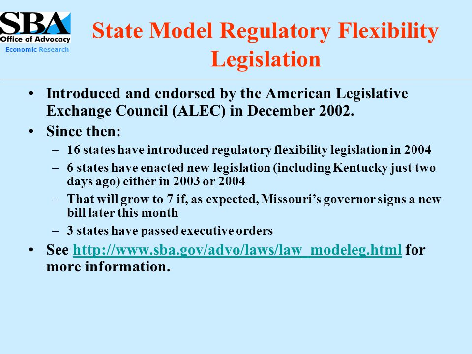 State Model Regulatory Flexibility Legislation