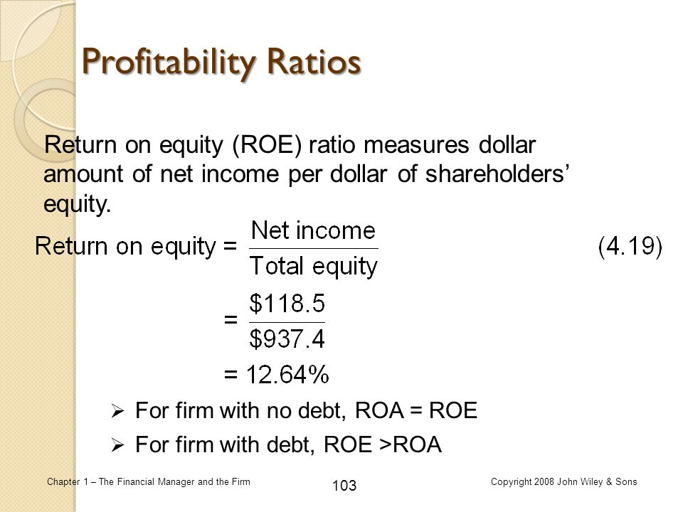 Profitability Ratios Return on equity (ROE) ratio measures dollar amount of net income per dollar of shareholders' equity.