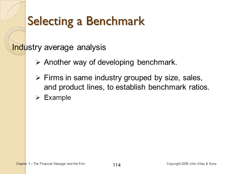 Selecting a Benchmark Industry average analysis