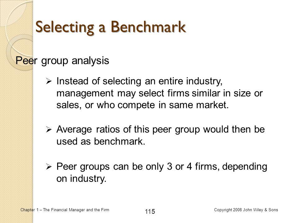 Selecting a Benchmark Peer group analysis