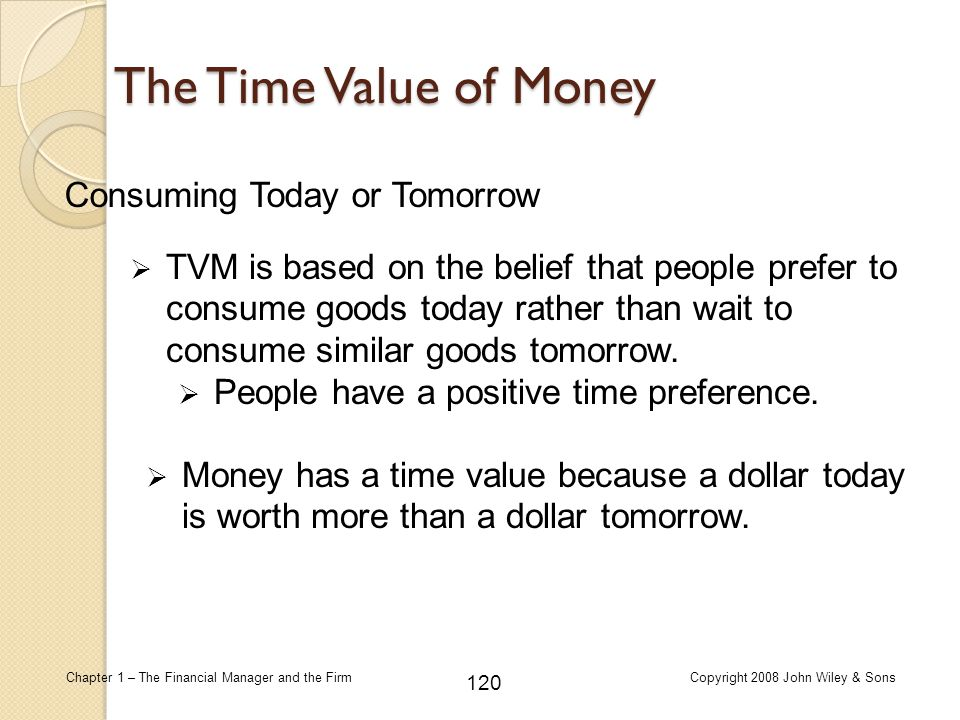 The Time Value of Money Consuming Today or Tomorrow