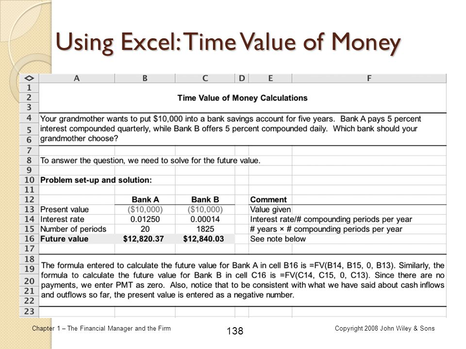 Using Excel: Time Value of Money
