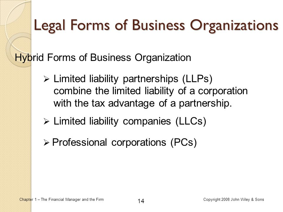 Legal Forms of Business Organizations