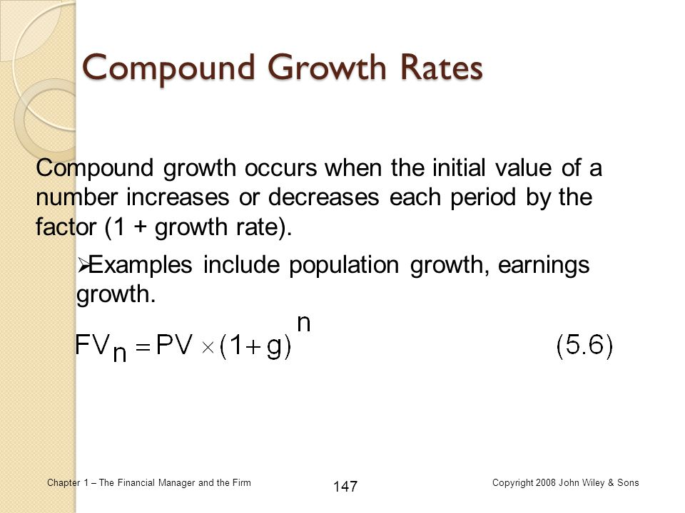 Compound Growth Rates Compound growth occurs when the initial value of a number increases or decreases each period by the factor (1 + growth rate).