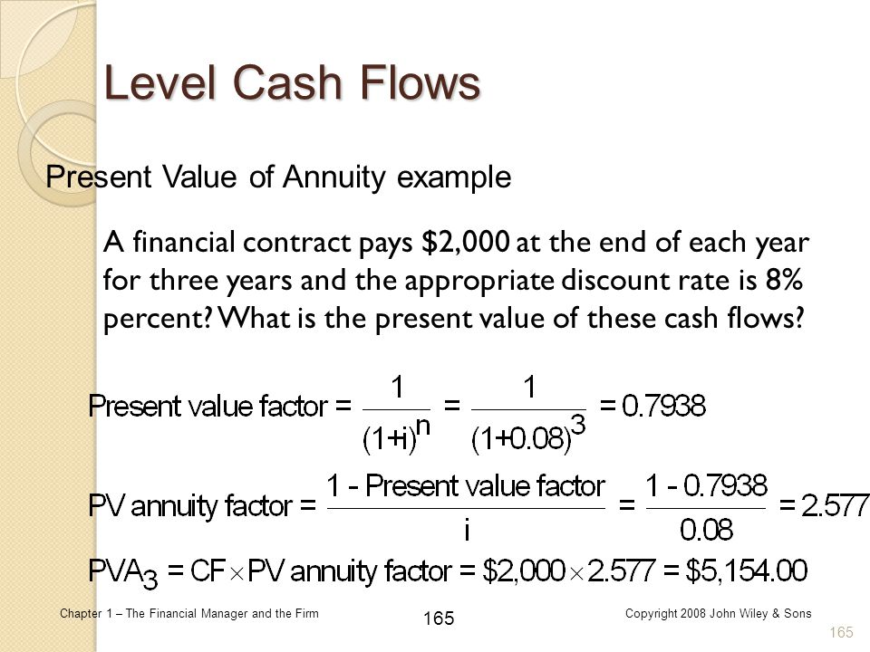Level Cash Flows Present Value of Annuity example